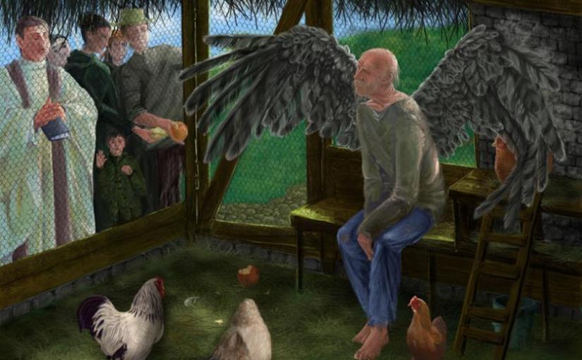 Очень старый человек с огромными крыльями